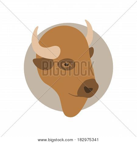 buffalo head  vector illustration Flat style  side