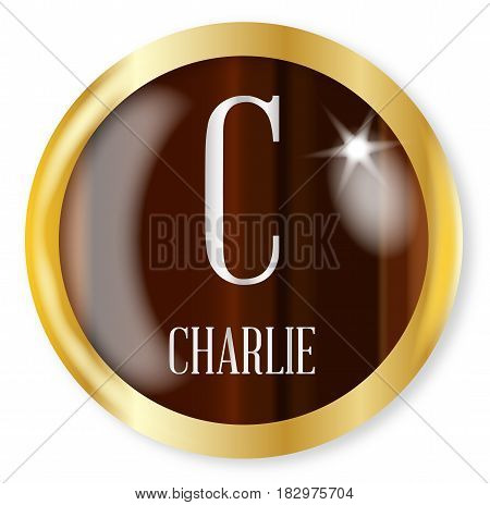 C for Charlie button from the NATO phonetic alphabet with a gold metal circular border over a white background