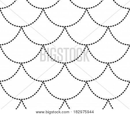 Black Decorative Seamless Background Patterns with Hanging Beads. Vector Illustration. Pattern Swatch