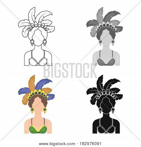 Samba dancer icon in cartoon design isolated on white background. Brazil country symbol stock vector illustration.
