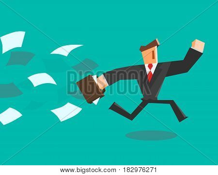 Businessman running away from paper. Vector illustration