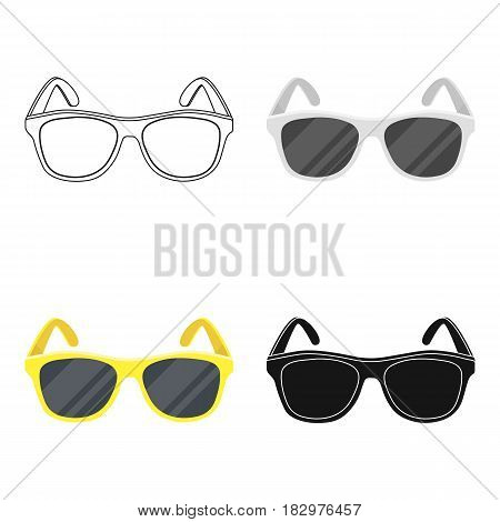 Yellow trendy sunglasses icon in cartoon design isolated on white background. Brazil country symbol stock vector illustration.