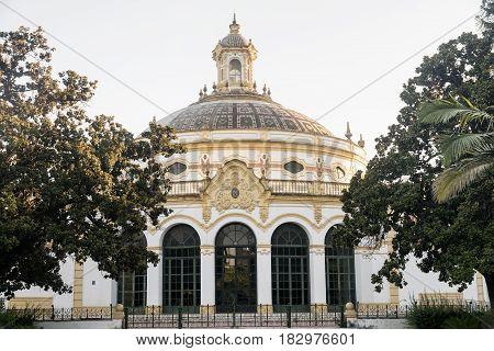 Sevilla (Andalucia Spain): exterior of the historic Lope de Vega theater near Plaza de Espana