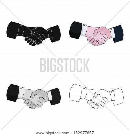 Handshake icon in cartoon design isolated on white background. Conference and negetiations symbol stock vector illustration.