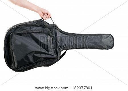 Soft Guitar Case In Hand, On White Background. Acoustic Or Electric Guitar. Horizontal Frame