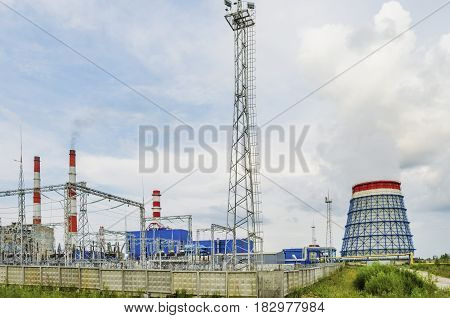 PERM KRAI RUSSIA - JULY 13 2016: Thermal power plant located in the village of Yayva. Russia Perm Krai