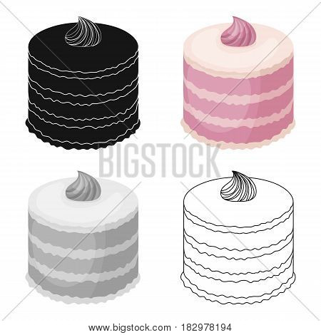 Purple cake icon in cartoon design isolated on white background. Cakes symbol stock vector illustration.