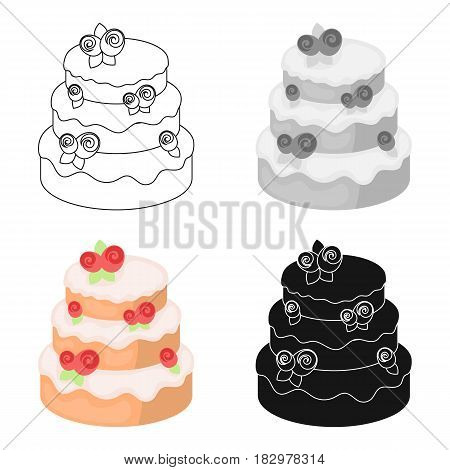 Cake with roses icon in cartoon design isolated on white background. Cakes symbol stock vector illustration.