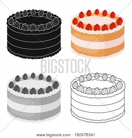 Strawberry cake icon in cartoon design isolated on white background. Cakes symbol stock vector illustration.