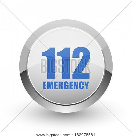 Number emergency 112 chrome border web and smartphone apps design round glossy icon.