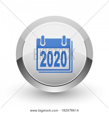 New year 2020 chrome border web and smartphone apps design round glossy icon.