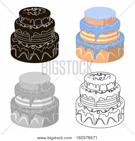 Blue three-ply cake icon in cartoon design isolated on white background. Cakes symbol stock vector illustration.