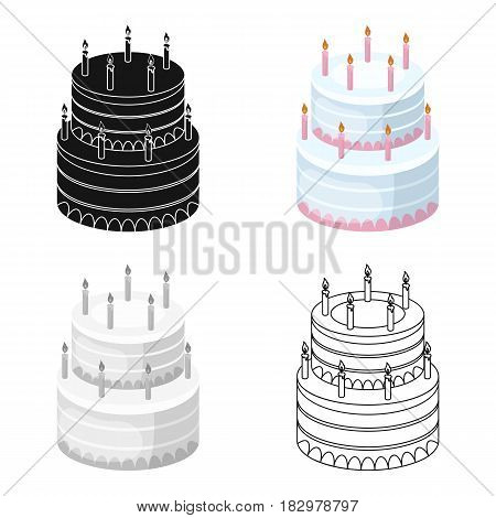 Birthday cake icon in cartoon design isolated on white background. Cakes symbol stock vector illustration.