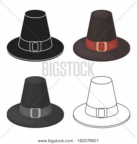 Pilgrim hat icon in cartoon style isolated on white background. Canadian Thanksgiving Day symbol vector illustration.