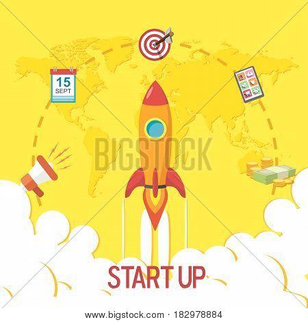 Flat design of a Start Up Concept