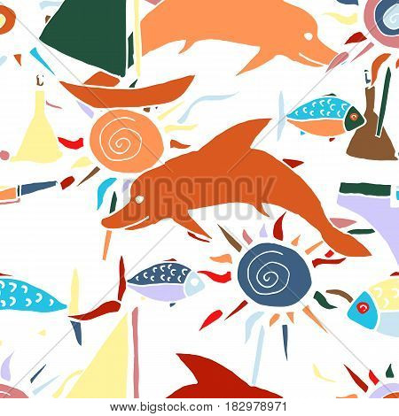 Hand drawn vector pattern. Summer vacation. Seamless background for baby textile surface home interior cover fabric  print gift wrap cards.