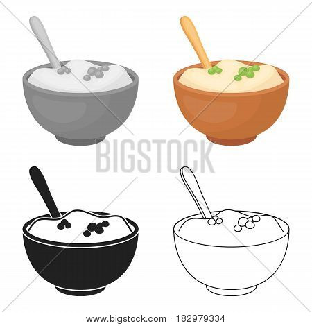 Mashed potatoes icon in cartoon style isolated on white background. Canadian Thanksgiving Day symbol vector illustration.