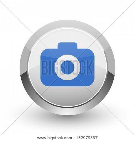 Photo camera chrome border web and smartphone apps design round glossy icon.