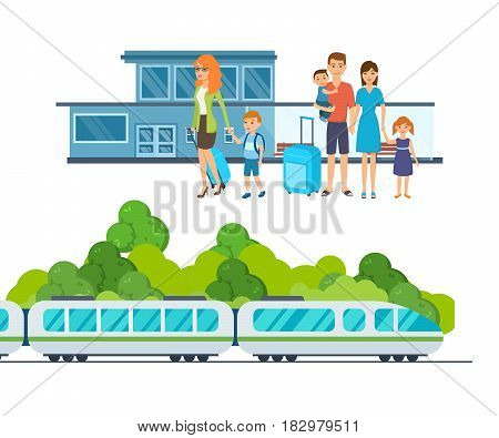 Families with luggage await the arrival of the train at the railway station. Train at the station. Vector illustration isolated in cartoon style.