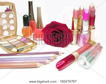 lipsticks rose eye shadows pencils nail polishers lip gloss