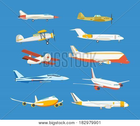 Set of commercial and private airplanes, view side. Types of airplane: passenger, civil, airbus, military, biplane, airplane high-rise. Modern vector illustration isolated on blue background.