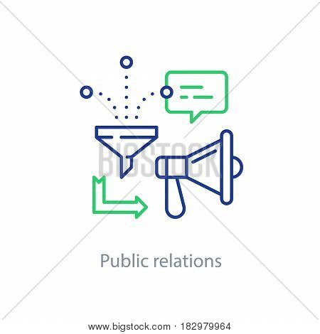 Social media marketing and promotion concept, megaphone line icon, public relations vector illustration