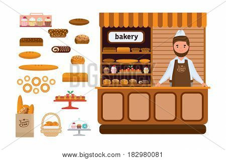 Set of bakery products and elite bread, sweets. Seller in a apron and a headdress standing at the food counter. Bakery showcase. Vector illustration isolated on white background in cartoon style.