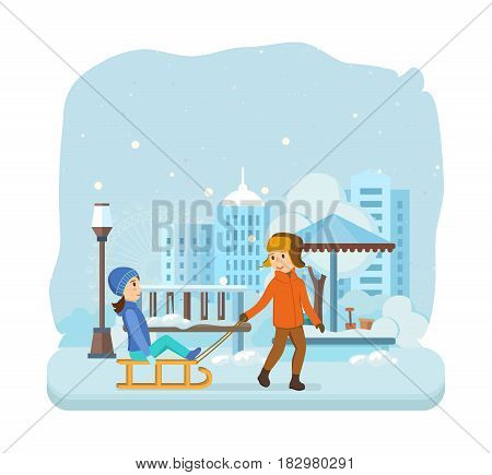 Kids favorite winter activities. The boy rolls girl on a snow-covered plain, both dressed in winter warm clothes, kids have fun and entertain. Modern vector illustration isolated in cartoon style.