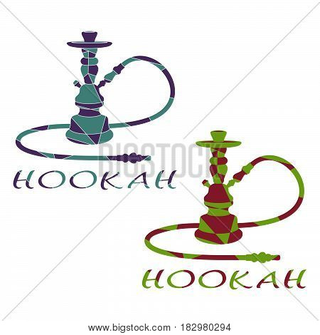 Abstract Hookah is Divided into Color Figures. Set of Two Hookahs on a White Background.