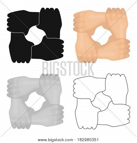 Ring of hands icon in cartoon design isolated on white background. Charity and donation symbol stock vector illustration.