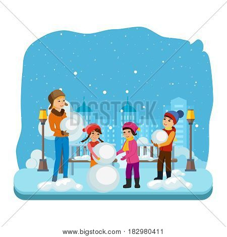 Kids favorite winter activities. Young children in winter clothes, sculpt a snowman in a good mood and with a smile on his face. Modern vector illustration isolated in cartoon style.