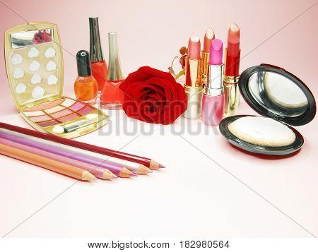 lipsticks rose eye shadows pencils nail polishers lip gloss powder
