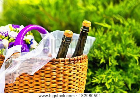 Wicker basket with two bottles champaign and flowers colorful painting