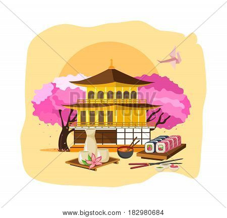 Invitation to Japan concept. Getting to know the culture, language, style of clothing, drinks, food, entertainment, attractions, traditions, japan landmarks Modern vector illustration isolated