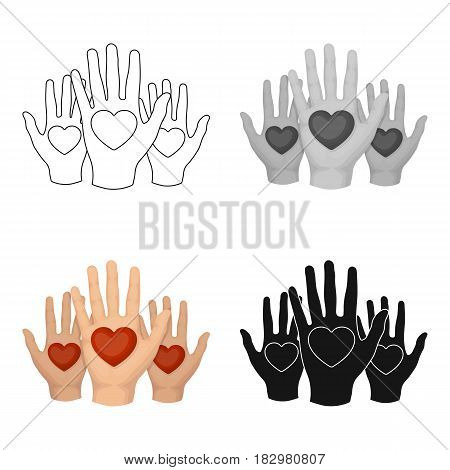 Hands up with hearts icon in cartoon design isolated on white background. Charity and donation symbol stock vector illustration.
