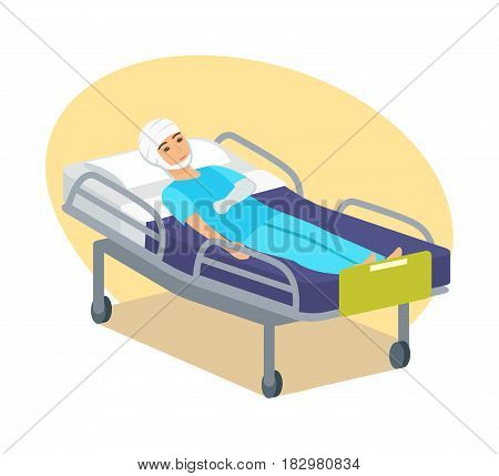 Disabled people concept. A young guy lies in bed with a bandaged head and an injured hand, temporarily limited in movement. Modern vector illustration isolated in cartoon style.