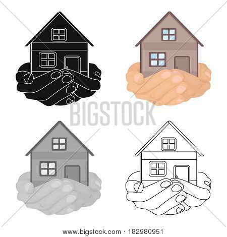 Property donation icon in cartoon design isolated on white background. Charity and donation symbol stock vector illustration.