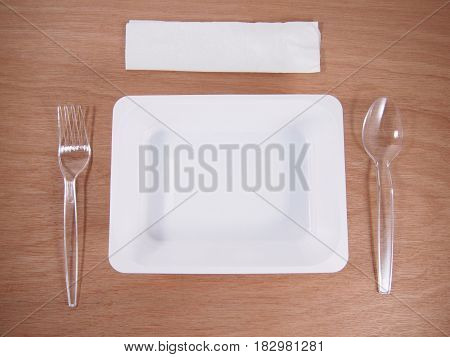 Empty box container disposable plastic spoon tissue