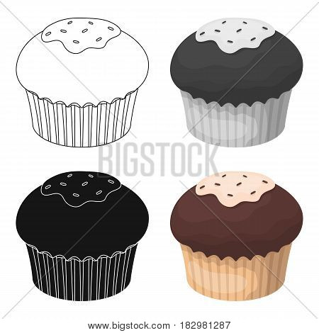 Chocolate cupcake icon in cartoon design isolated on white background. Chocolate desserts symbol stock vector illustration.
