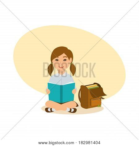 The girl sits on the ground, on the lawn, reads the school book, next to her there is a backpack with textbooks and exercise books. Modern vector illustration isolated in cartoon style.