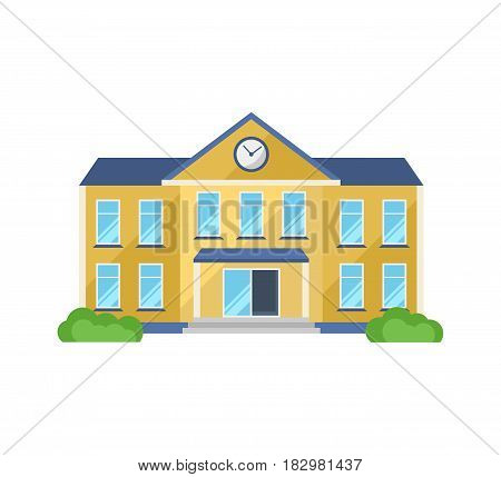 School building, with adjoining territory, front yard for school children, appearance. Modern vector illustration isolated on white background.