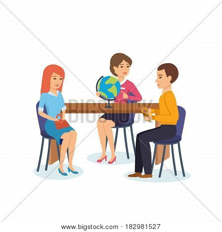 The young couple came to the travel agency employee, to choose the travel point, the employee advises clients. Modern vector illustration isolated in cartoon style.
