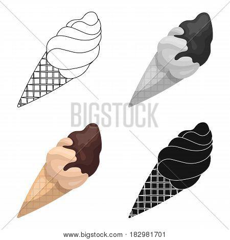 Chocolate ice-cream icon in cartoon design isolated on white background. Chocolate desserts symbol stock vector illustration.