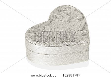 Silver heart box on a white background