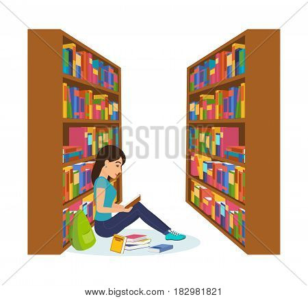 Library and bookstore with people. The girl is engaged in the library, reading the book and working with the necessary materials. Modern vector illustration isolated in cartoon style.