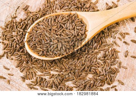 Cumin In A Spoon . Close Up .