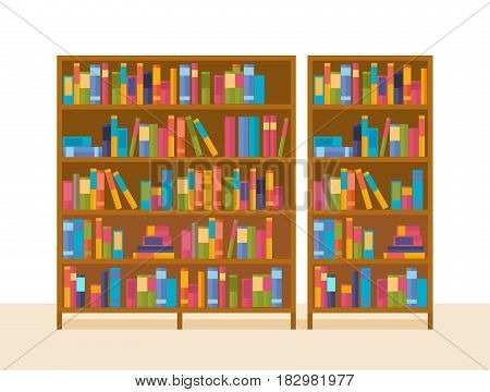 Bookshelves in the library, with teaching materials and general literature. Modern vector illustration isolated on white background.