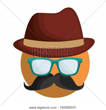 man with mustache, glasses and hat icon over white background. colorful design. vector illustration