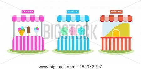 Stall with ice cream, sweet wadding, popcorn, in a children's amusement park. Modern vector illustration isolated on white background.