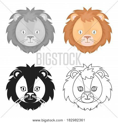 Circus lion icon in cartoon style isolated on white background. Circus symbol vector illustration.
